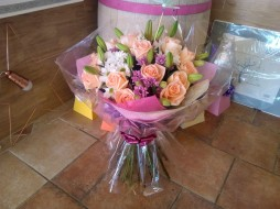 Hand Tied Lily, Rose & Daisy Bouquet